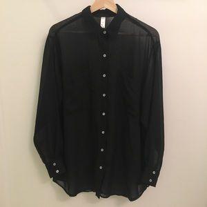 American apparel black sheer blouse